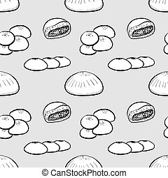 Anpan seamless pattern greyscale drawing
