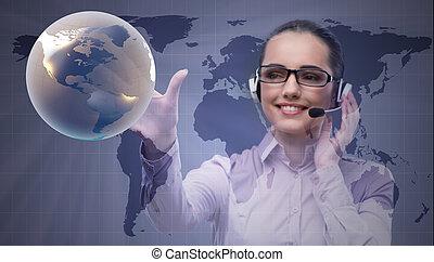anruf- mitte, bediener, in, globales geschäft, begriff