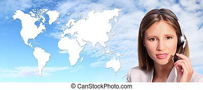 anruf- mitte, bediener, international, kontakt