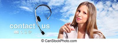 anruf- mitte, bediener, mit, kopfhörer, und, berühren us, text