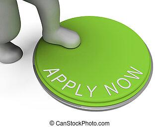 ansök nu, knapp, visar, rekryterande, för, anställning