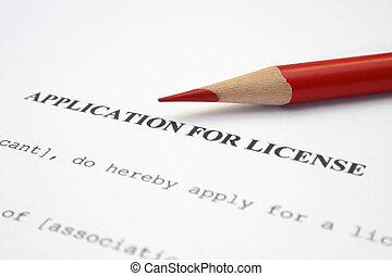 ansökan, för, licens