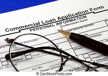ansökan, lån, kommersiell, fil