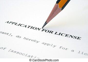 ansökan, licens