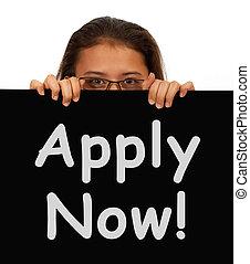ansökan, nu, arbete, applicera, underteckna