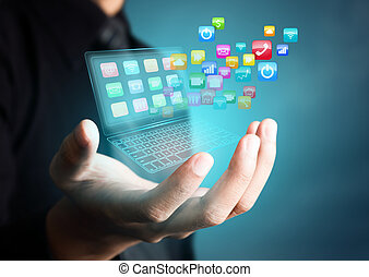 ansökan, touchscreen, laptop