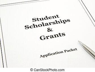 ansökan, tusen dollar, paket, stipendium
