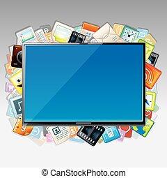 ansökan, vektor, moln, skrivblock persondator