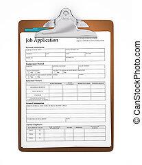 ansøgning, arbejde, clipboard, form