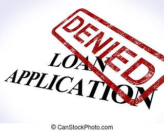 ansøgning, frimærke, lån, forkast, kredit, benægt, show