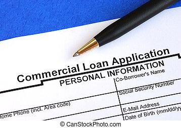 ansøgning, lån, kommerciel