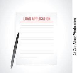 ansøgning, lån, paperwork, illustration