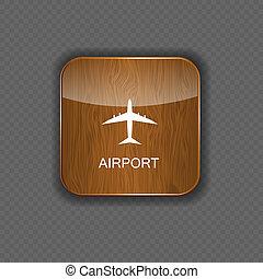 ansøgning, lufthavn, vektor, iconerne