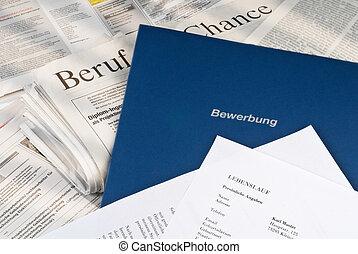 ansøgning, på, daglig avis