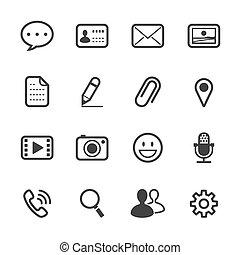 ansøgning, snakke, iconerne