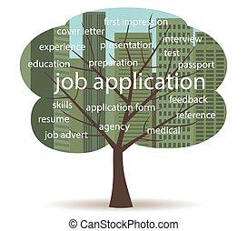 ansøgning, træ, arbejde