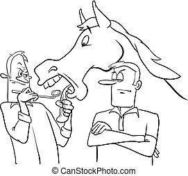 anschauen, geschenk, pferd, in, der, mund, karikatur