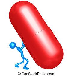 anschieben, pille, riesig