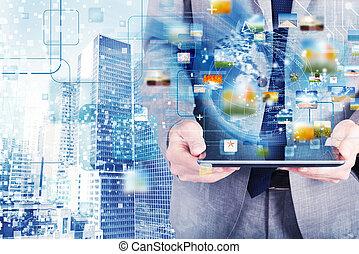 anschluss, begriff, vernetzung, tablette, internet