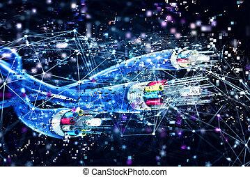 anschluss, mit, der, optisch, fiber., begriff, von, schnell, internet., 3d, render