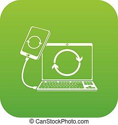 anschluss, vektor, grün, smartphone, ikone