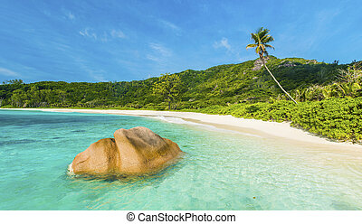 Anse Coco - Beautifully shaped granite boulder in the...