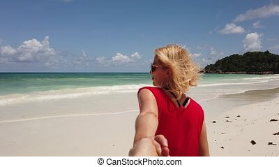 Anse Kerlan follow me - Tropical summer holidays. Tourist...