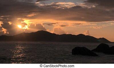 Anse Source d'Argent dusk - Anse Source d'Argent Beach at...