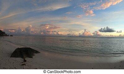 Anse Source d'Argent sunset panorama - Anse Source d'Argent...