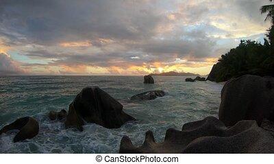 Anse Source d'Argent sunset - Seychelles, La Digue, Anse...