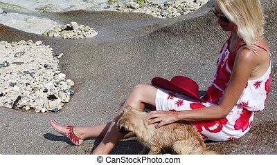 Anse Source d'Argent Tourism - SLOW MOTION: close up of...