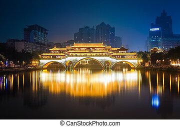 anshun bridge ablaze with lights