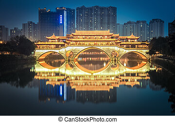 anshun bridge in chengdu at night - typical chinese ancient...