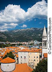 ansicht, auf, alte stadt, von, budva., montenegro, balkan
