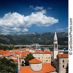 ansicht, auf, alte stadt, von, budva, montenegro