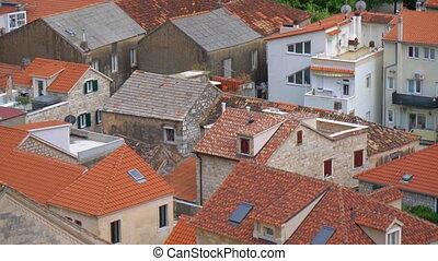 ansicht, auf, der, dächer, von, omis, stadt, in, croatia.