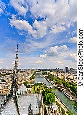 ansicht, auf, paris, von, notre dame, frankreich