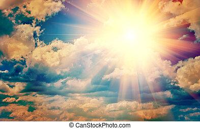 ansicht, auf, schöne , sonne, in, blaues, trüber himmel, instagram, stile, instagr