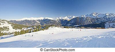 ansicht, aus, a, fahren ski zuflucht