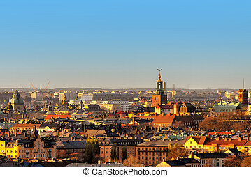 ansicht, aus, der, stockholm, dachenden, in, sonnenuntergang