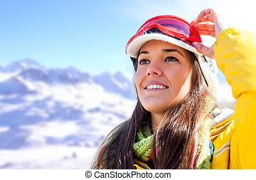 ansicht., frau, fahren ski verschleiß, betrachtend