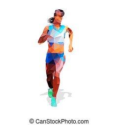 ansicht., illustration., abstrakt, modern, girl., rennender , vektor, design, front, geometrisch, aktive, woman.