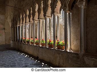 ansicht, kreuzgang, rufolo, gotische , campania, amalfi, ...