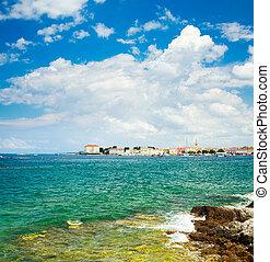 ansicht, kroatien, travel., porec, sea.