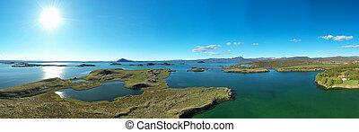 ansicht, nördlich , iceland.aerial, see, panoramisch, myvatn