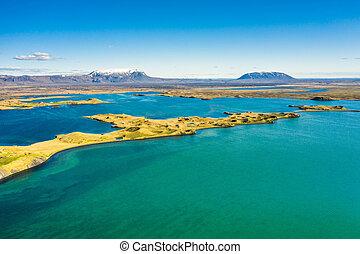ansicht, oben, krater, see, island, luftaufnahmen,...
