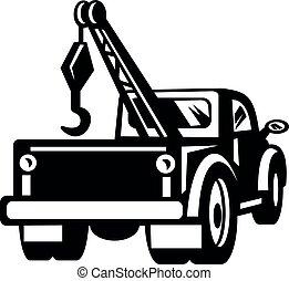 ansicht, oder, retro, weißes, schwarz, lastwagen, weinlese, tonabnehmer, schleppen, wrecker, rückseite