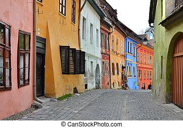 ansicht, transylvania, mittelalterlich, sighisoara, straße