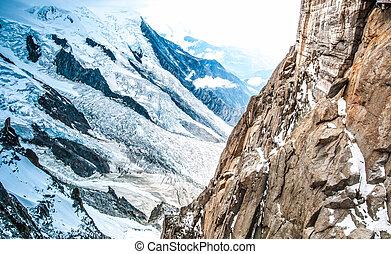 ansicht, von, alpen, von, aiguille midi, mountain.