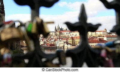ansicht, von, alte stadt, und, prag castle